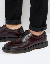 Asos Brogue Shoe In Burgundy Leather