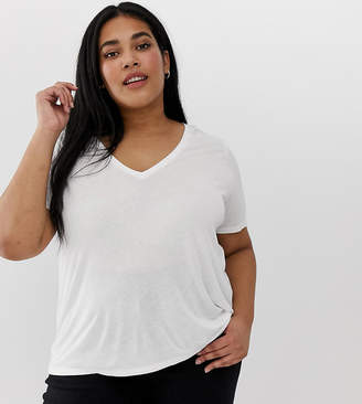 Asos DESIGN Curve v-neck t-shirt with short sleeves in white