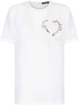 Dolce & Gabbana logo-embroidered silk T-shirt