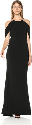 Carmen Marc Valvo Women's Crepe Gown Plunging Back