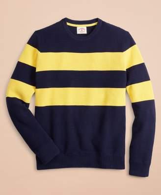 Brooks Brothers Striped Waffle Crewneck Sweater
