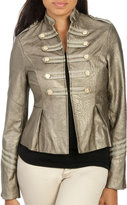 Arden B Faux Leather Military Jacket