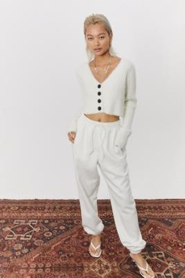 adidas Off White Cuffed Joggers - White UK 6 at Urban Outfitters
