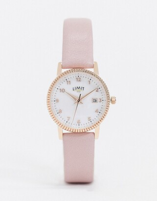 Limit faux leather watch in pink