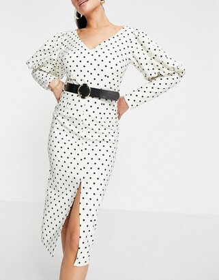 Little Mistress long puff sleeve belted midi dress in cream polka print