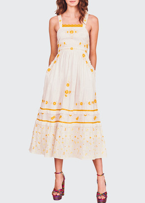 LoveShackFancy Asher Floral-Embroidered Pinafore Dress