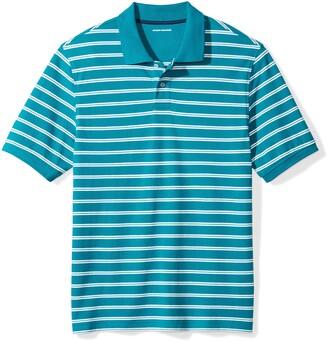 Amazon Essentials Regular-fit Striped Cotton Pique Polo Shirt Teal Medium