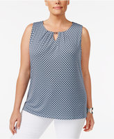 Charter Club Plus Size Printed Keyhole Shell, Created for Macy's