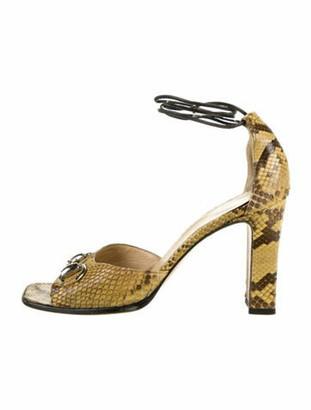 Gucci 1955 Horsebit Accent Snakeskin Sandals Yellow