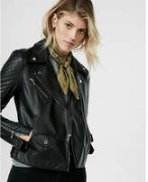 Express minus The) Leather Two Tone Quilted Moto Jacket