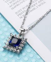 Streetregion Women's Necklaces Navy - Navy Crystal & Cubic Zirconia Princess-Cut Pendant Necklace