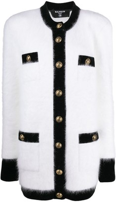 Balmain Single-Breasted Knitted Short Coat