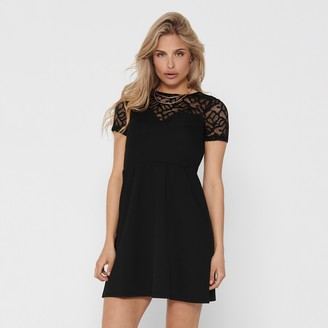 Only Lace Bustier Knee-Length Dress with Short Sleeves