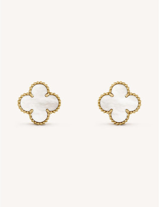Van Cleef & Arpels Women's Yellow Gold Vintage Alhambra And Mother-Of-Pearl Earrings