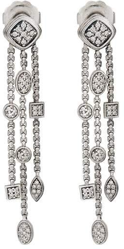 David Yurman Sterling Silver Confetti 0.80ct. Diamond Drop Earrings