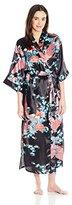 Bottoms Out Women's Printed Satin Long Kimono Robe