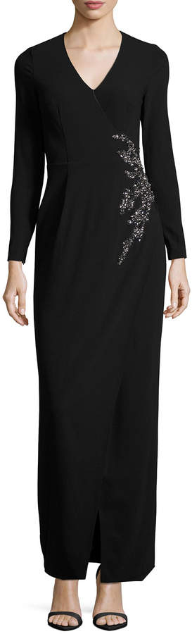 David Meister Long-Sleeve Embellished Faux-Wrap Gown, Black