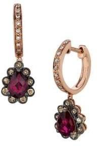 LeVian Le Vian Raspberry Rhodolite, Vanilla Diamonds, Chocolate Diamonds and 14k Strawberry Gold Teardrop Earrings