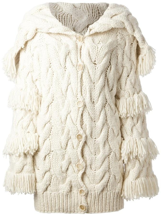 John Galliano Vintage fringed cable knit cardigan