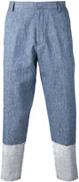 MSGM patch panel trousers - men - Cotton/Linen/Flax - 50