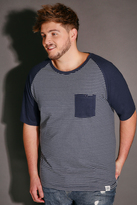 Yours Clothing BadRhino Navy & White Stripe T-Shirt With Contrast Raglan Sleeves
