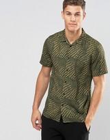 Asos Drapey Shirt In Crocodile Print In Regular Fit
