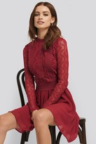 NA-KD Lace Anglaise LS Mini Dress