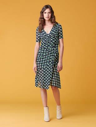 Diane von Furstenberg Farrell Short Sleeve Mesh Dress