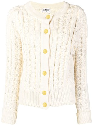 Chanel Pre Owned Cable Knit Buttoned Cardigan