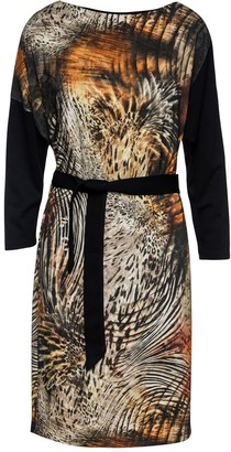 Conquista Animal Print With Solid Colour Black Sleeves & Belt