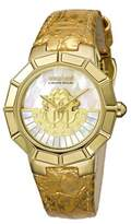 Roberto Cavalli Gold Leather Strap Watch With White Mop Dial.