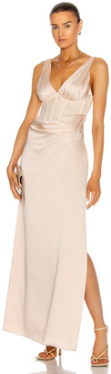 Jonathan Simkhai Maeve Lace Wrap Dress in Champagne | FWRD