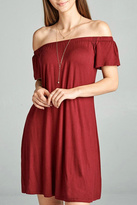 Active Basic Burgandy Off Shoulder Dress