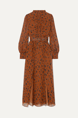 Nicholas Ruched Belted Leopard-print Silk-chiffon Midi Dress - Light denim