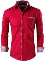 Tom's Ware Mens Classic Slim Fit Plaid Inner Contrast Longsleeve Shirt TWNMS310S-CMS05-WHITE-US XXL