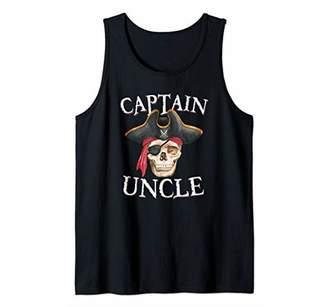 Mens Captain Uncle Halloween Skull Pirate Hat Tank Top