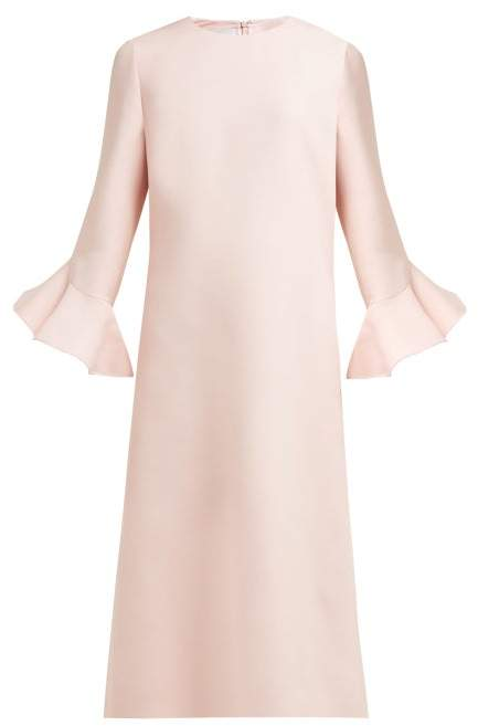 Valentino Fluted Wool And Silk-bend Midi Dress - Womens - Pink
