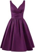 Azbro Women's Simple V Neck A-line Bridesmaid Dress, M