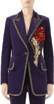 Gucci Matte Stretch-Velvet Jacket with Embroidered Flower