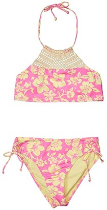 Hobie Kids Aloha Crochet High Neck Adjustable Hipster Bottoms (Big Kids) (Navy) Girl's Swimwear Sets