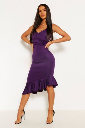 boohoo Strappy Ruffle Detail Midi Dress