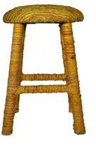 nuLoom Handmade Bombay Yellow Sari Silk Bar Stool