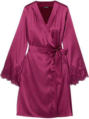 I.D. Sarrieri Lace-trimmed Silk-blend Satin Robe