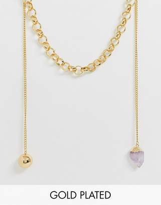 Asos Design DESIGN premium gold plated chunky necklace with mismatch details