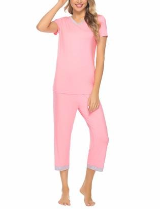 Aibrou Womens Ultra Soft Cotton Pyjama Sets Short Sleeve Top & Pants Pjs Sets Loungewear Sleepwear with Pockets for Summer Pink