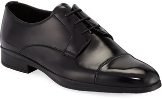 Prada Men's Spazzolato Leather Lace-Up Dress Shoes