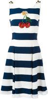 Dolce & Gabbana cherry patch striped dress - women - Silk/Cotton/Polyamide/Viscose - 38
