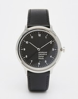 Mondaine Helvetica Regular Leather Watch In Black 40mm