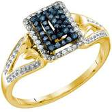 DazzlingRock Collection 0.16 Carat (ctw) 10k Yellow Gold Round White & Blue Diamond Ladies Bridal Fashion Right Hand Ring