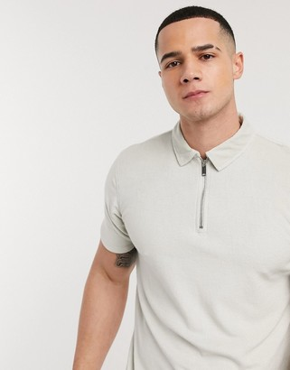 Topman co-ord towelling half zip polo in off white
